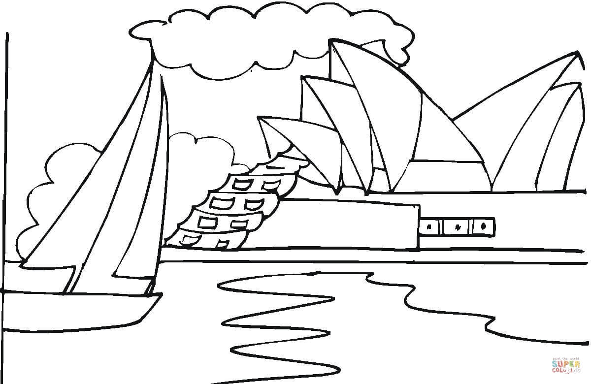 Opera House In Sydney Coloring Page Free Printable
