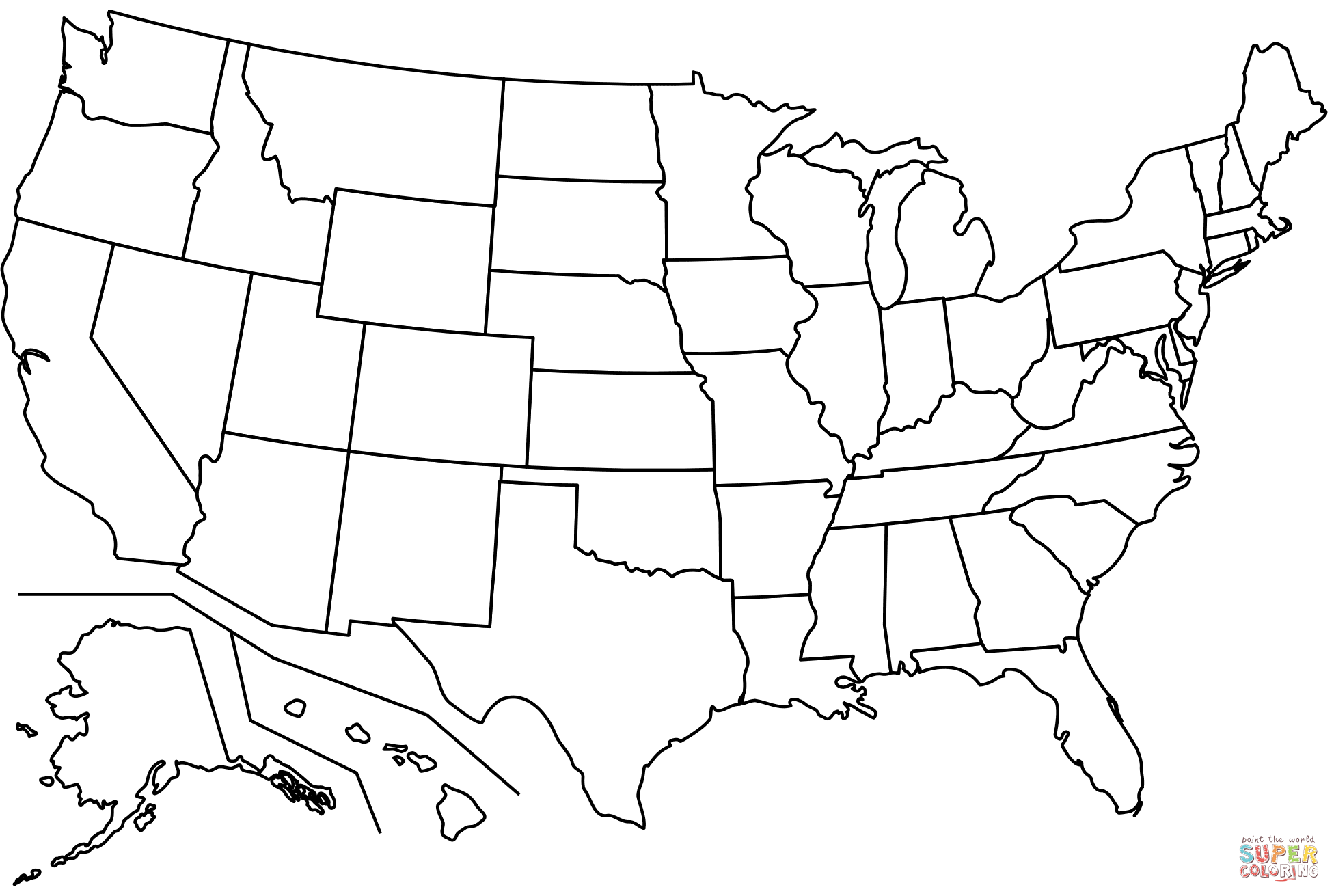 Outline Map Of Us States Coloring Page