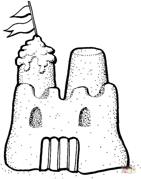 sand castle coloring page free printable coloring pages