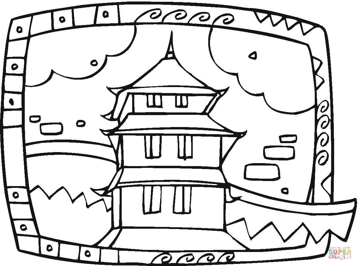 Buddhist Temple Coloring Page