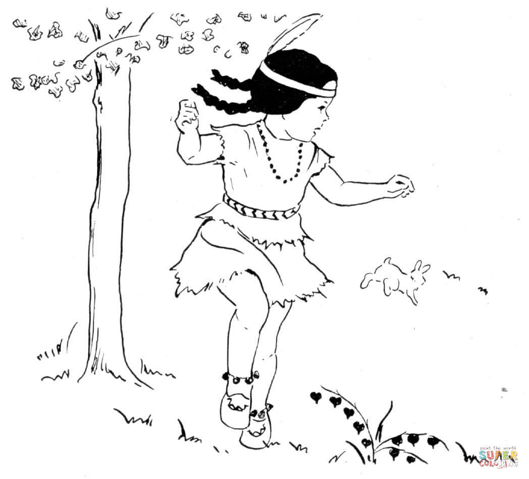 Dancing First Nation Girl Under A Tree Coloring Page
