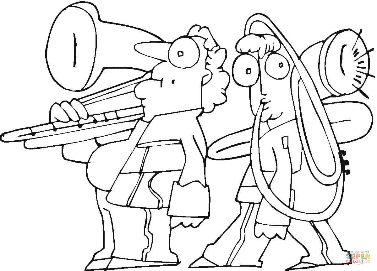 Family Is Playing On Trombone Coloring Page