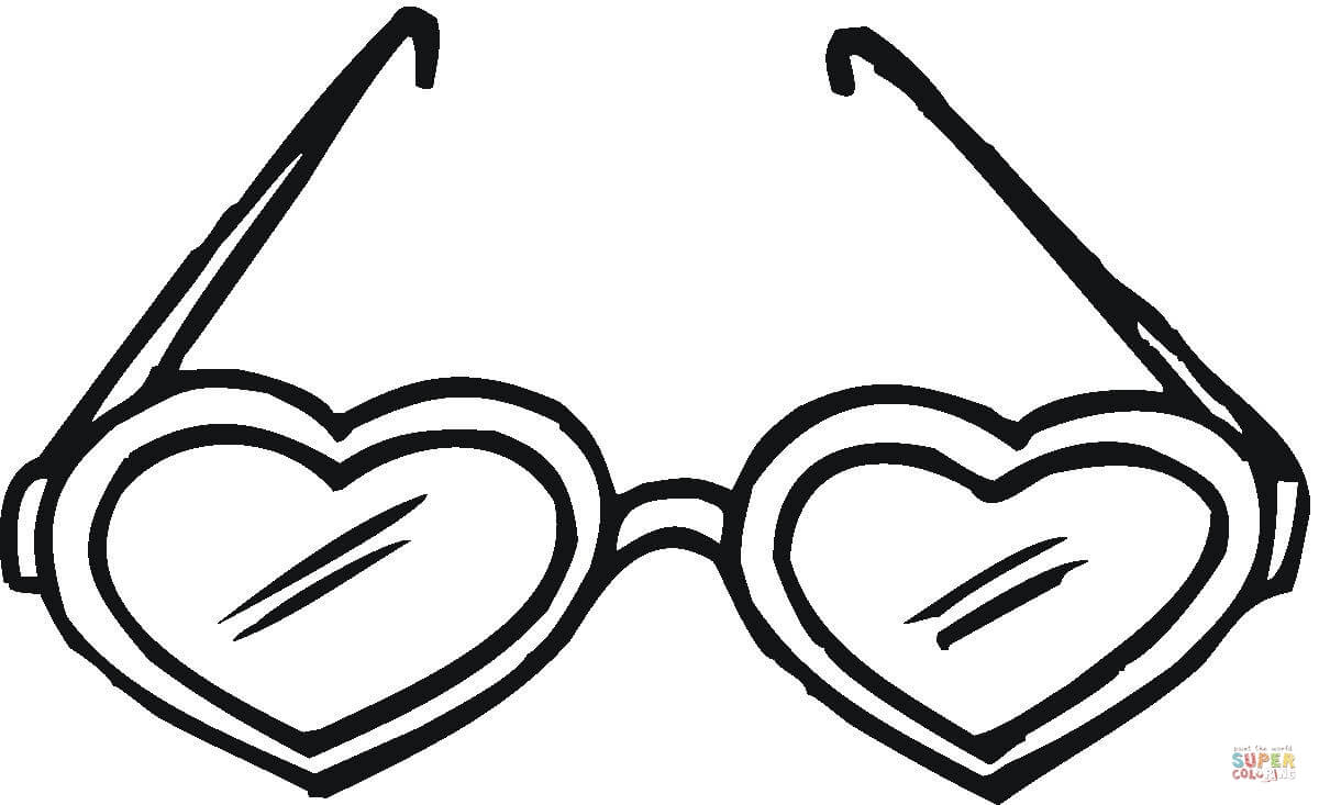 heart shaped sunglasses coloring page free printable coloring pages