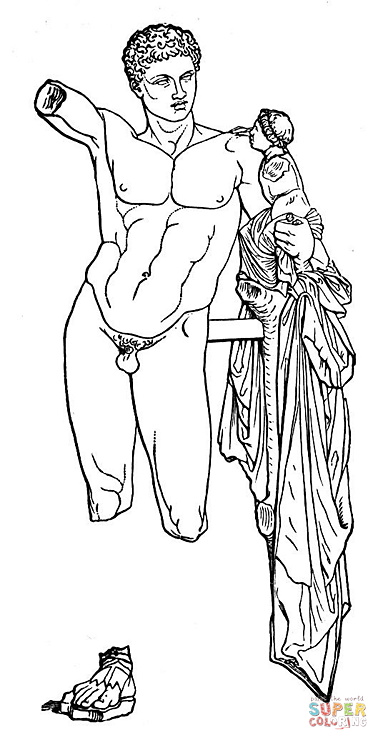 Hermes And The Infant Dionysus Coloring Page