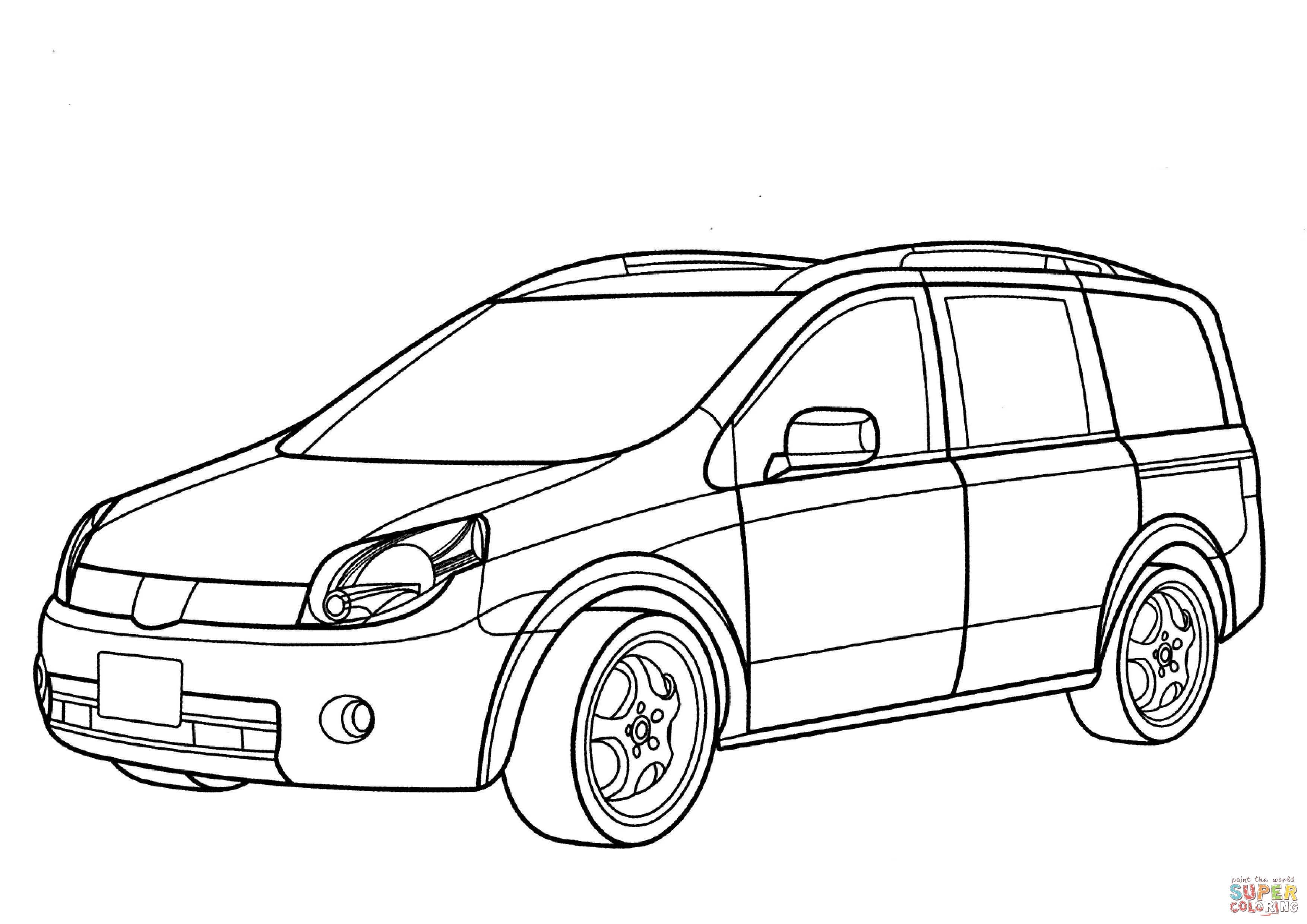 Nissan Lafesta Minivan Coloring Page