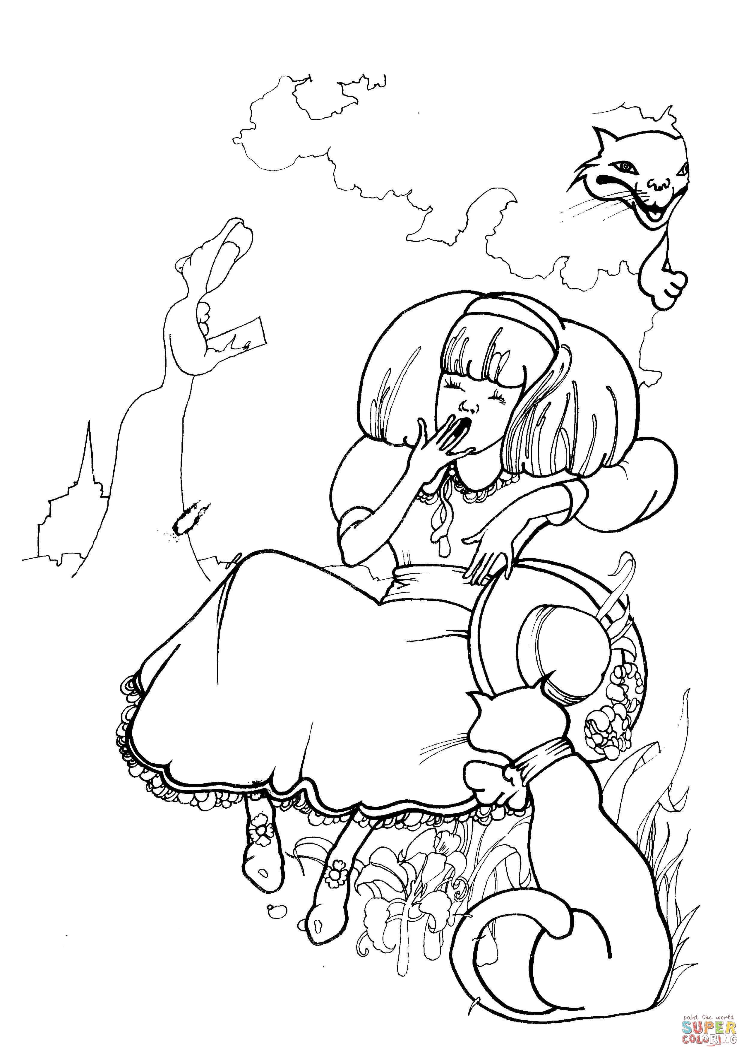 Disegno Di Alice Si Sveglia Da Colorare