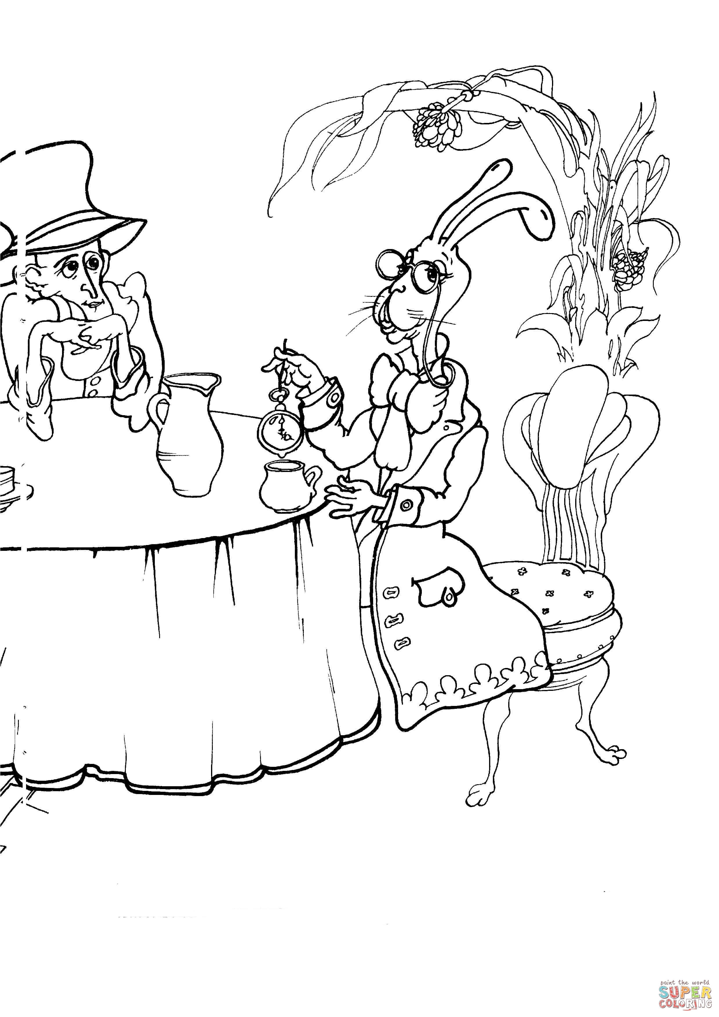 Mad Hatter And The Mad March Hare At The Tea Party
