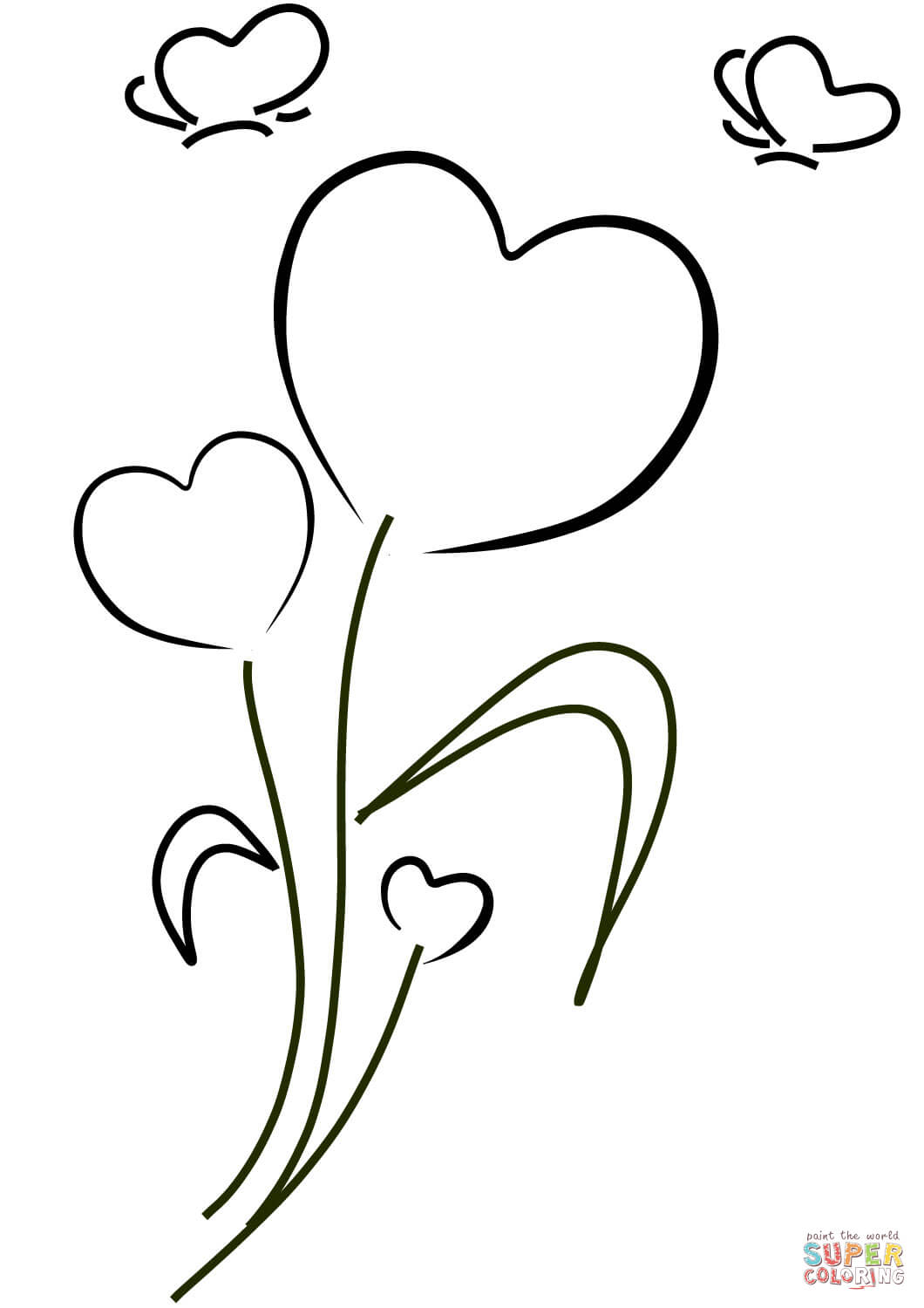 Heart and Flowers coloring page | Free Printable Coloring Pages | 1500x1060