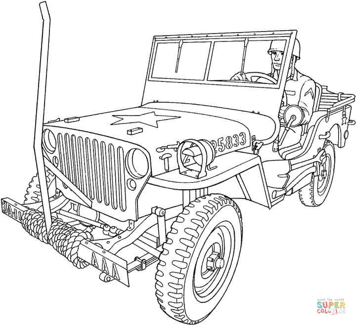 military troop transport truck coloring page free printable
