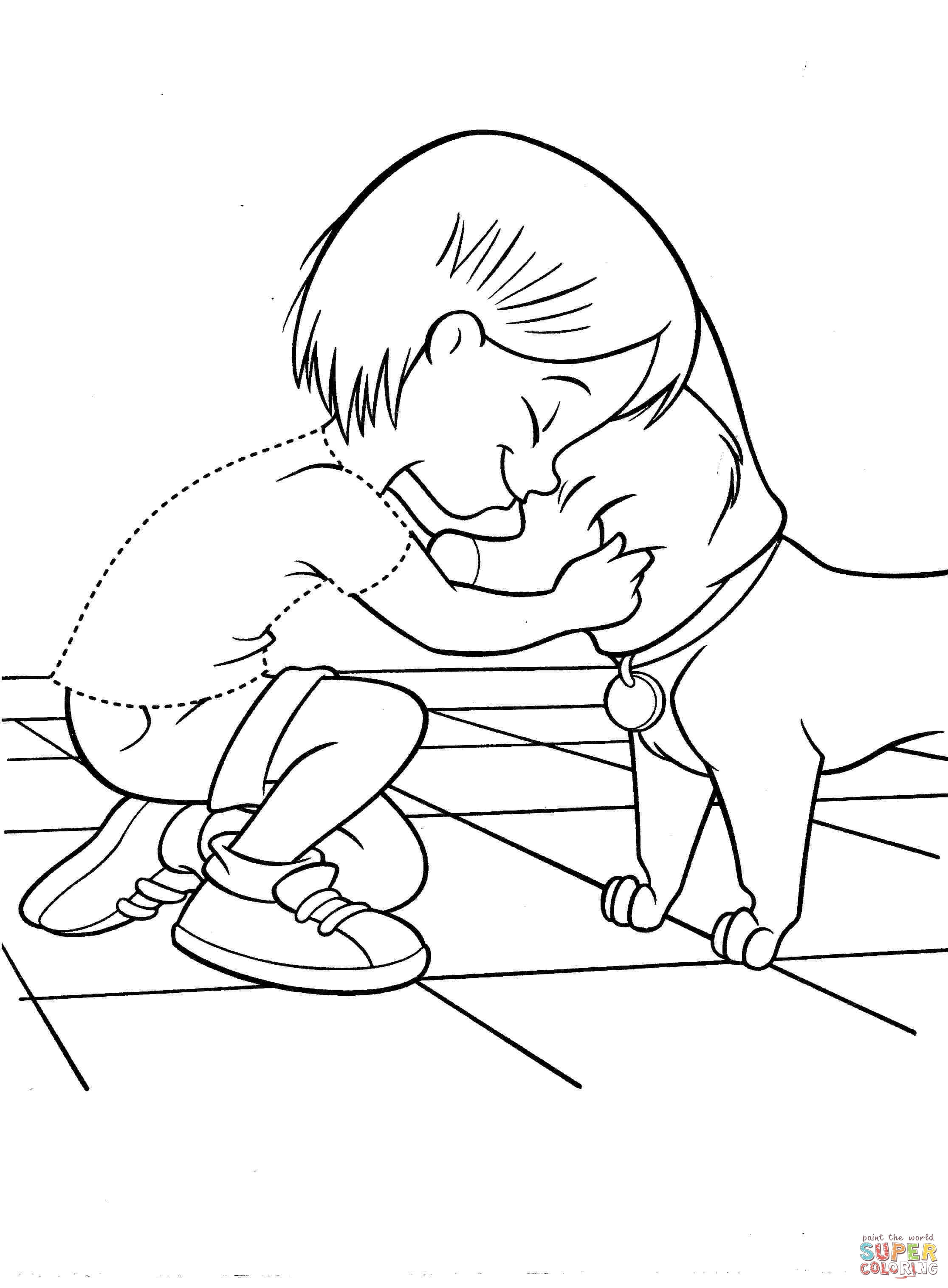 Penny With Dog Coloring Page