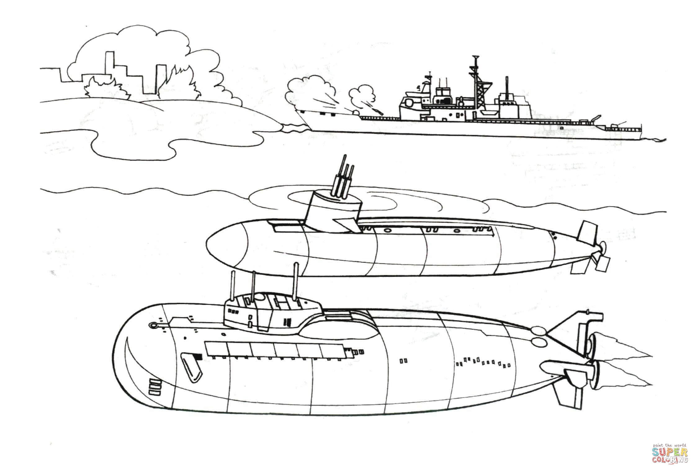two submarines and warship coloring page free printable coloring