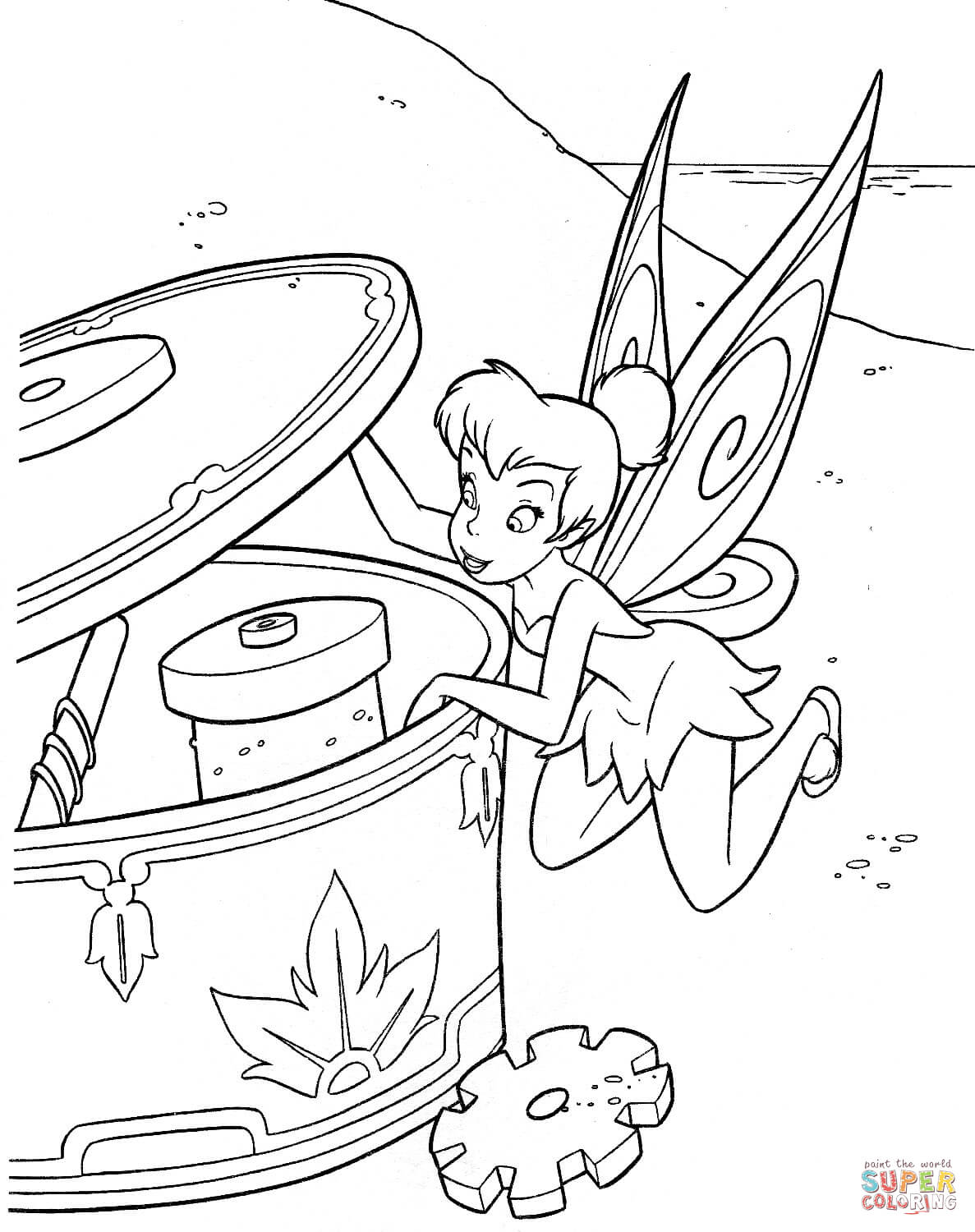 Tinker Bell Is Looking Inside Of Musical Box Coloring Page