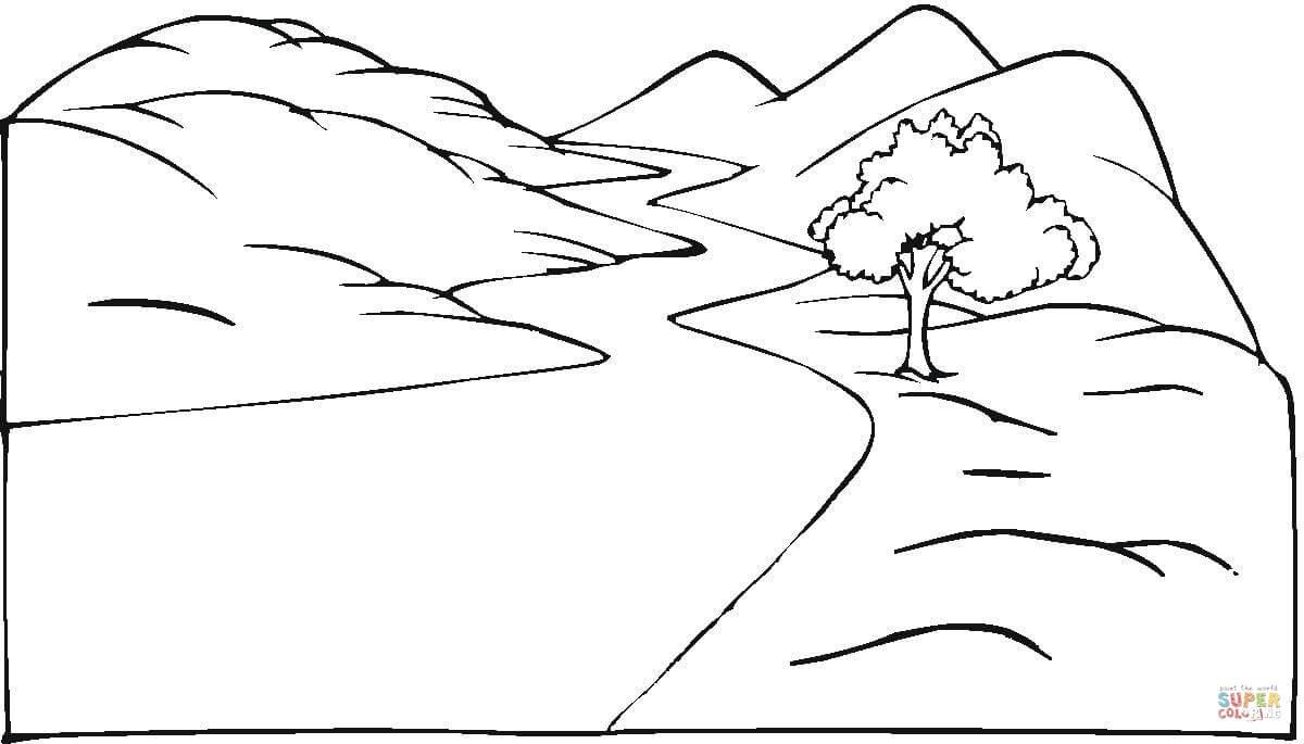 disegno di paesaggio con strada da colorare disegni da colorare e