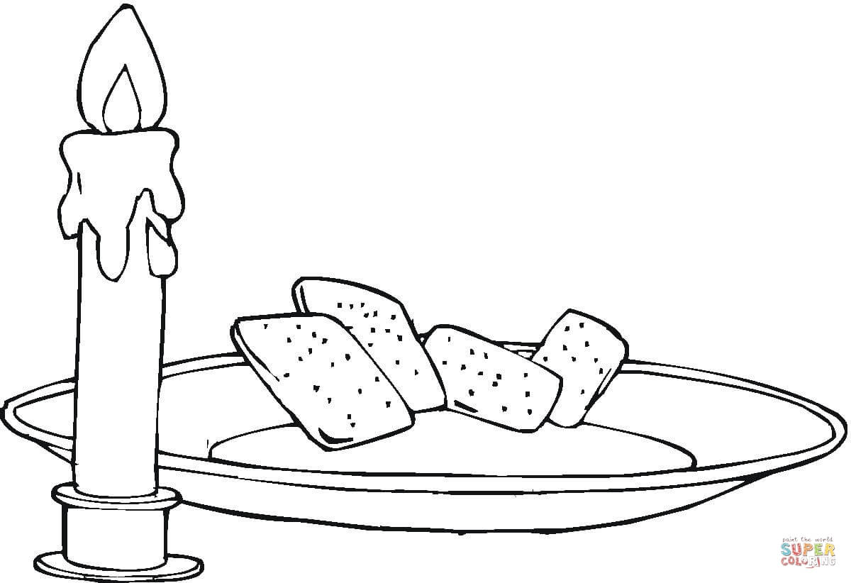 Candle And Bread Coloring Page