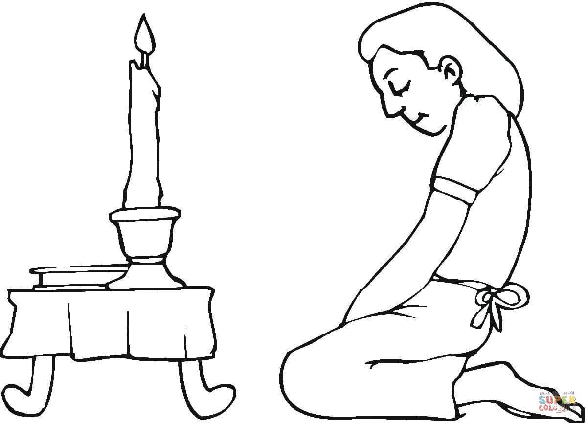 Dibujo De Oracion Durante La Pascua Judia Para Colorear