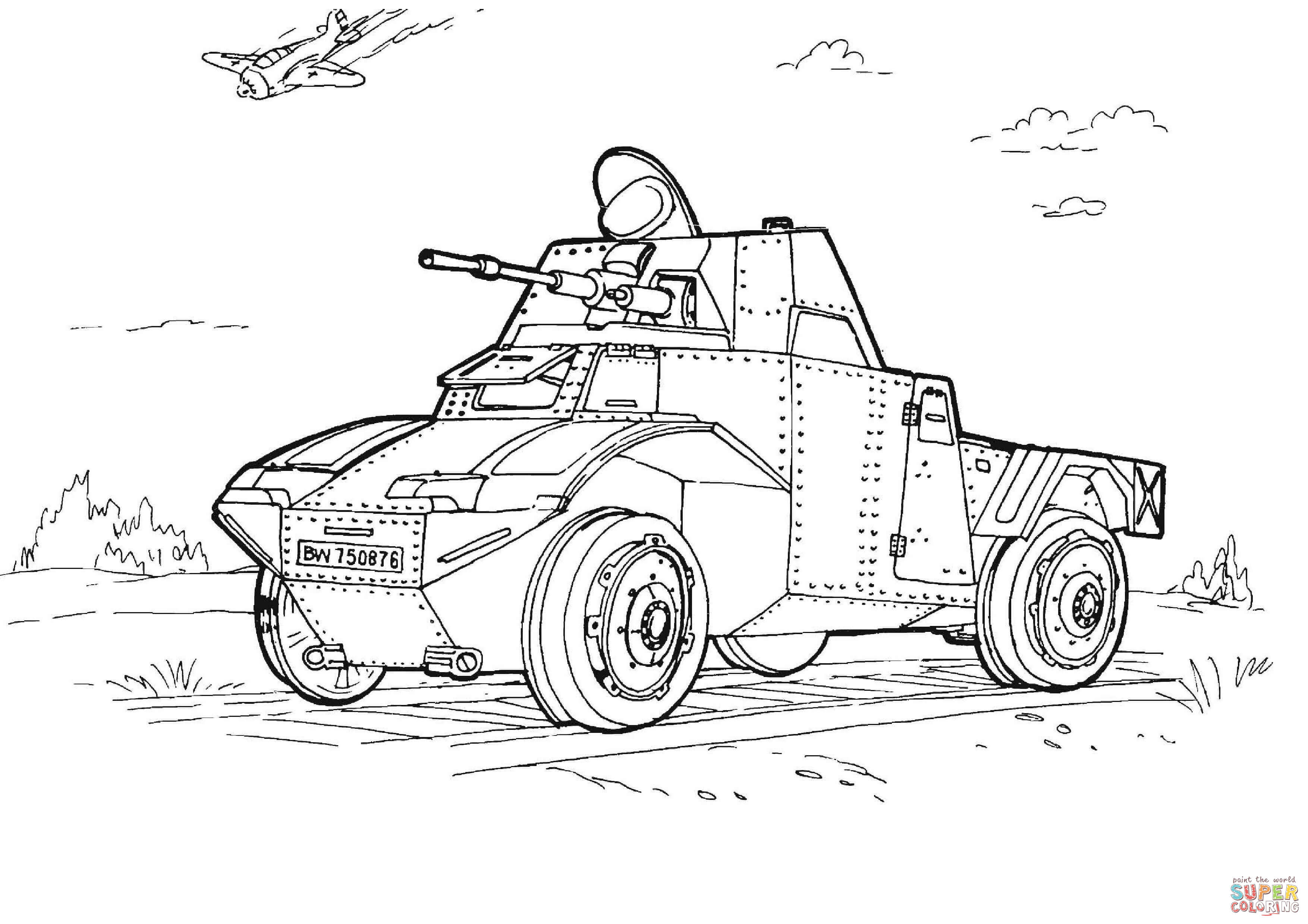 Military Armored Car Coloring Page