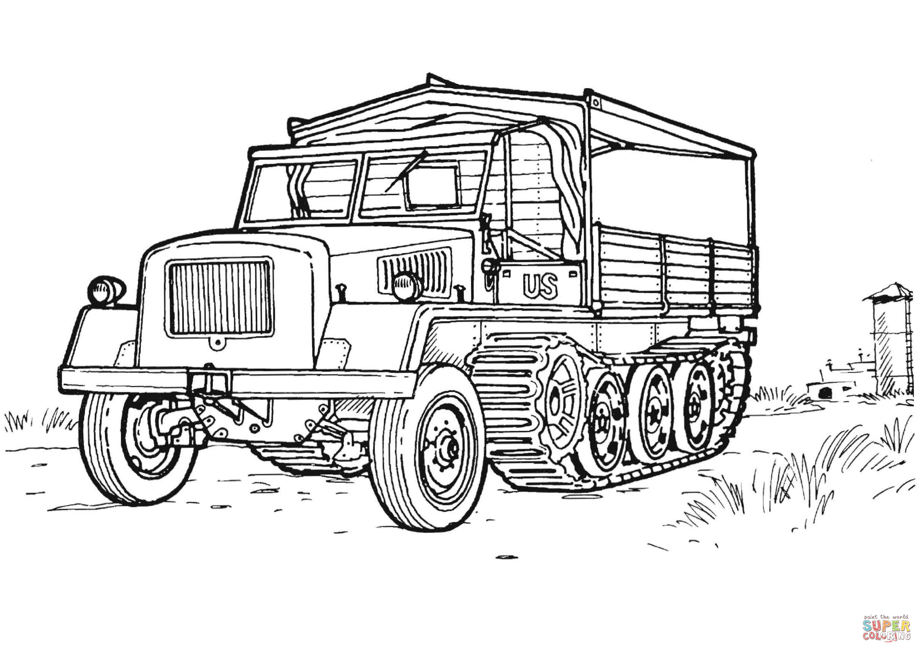 Us Military Half Track Coloring Page