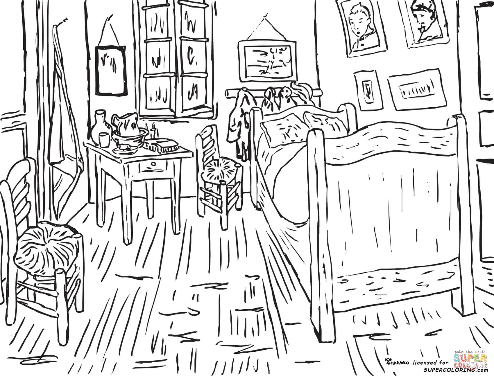 Bedroom At Arles By Vincent Van Gogh Coloring Page
