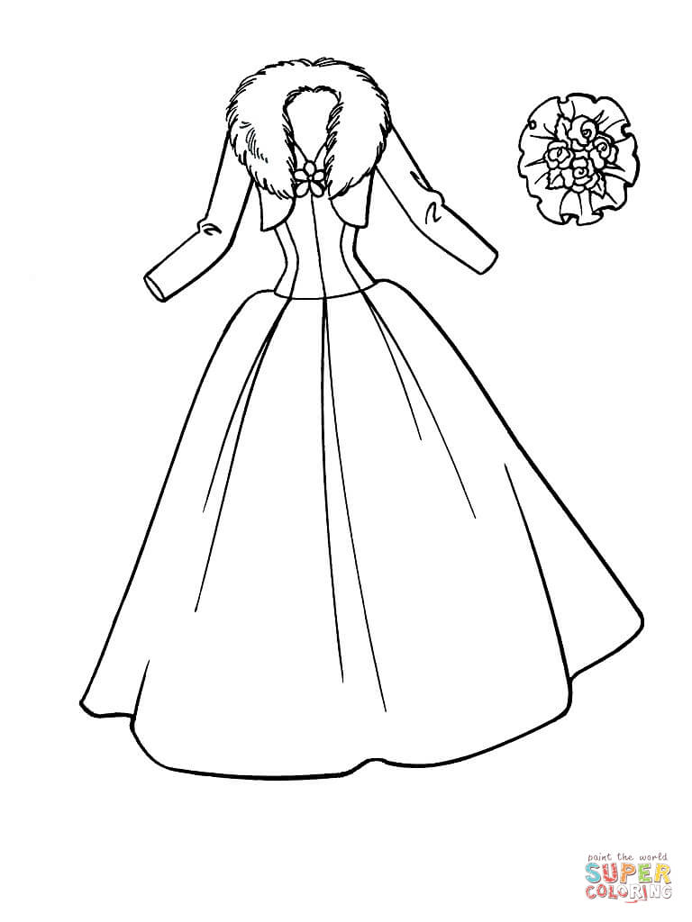Beautiful Dress Coloring Page Free Printable Coloring Pages