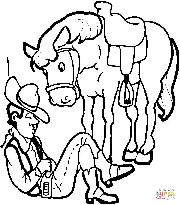 cowboy with his horse coloring page free printable coloring pages