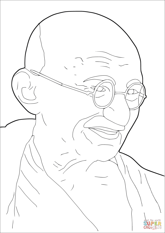 Ausmalbild Mahatma Gandhi