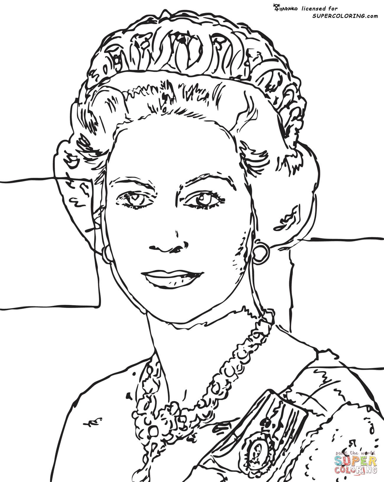 Queen Elizabeth By Andy Warhol Coloring Page