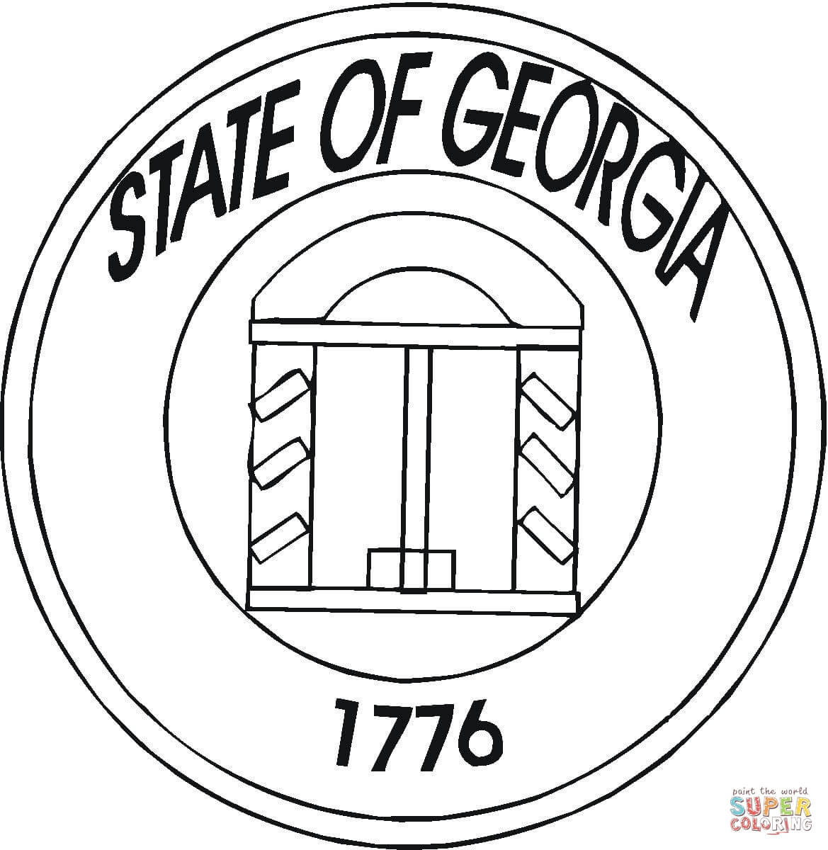 State Of Georgia Coloring Page