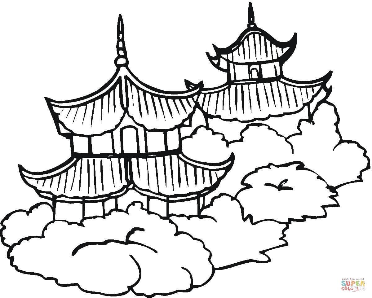 Pagodas Coloring Page