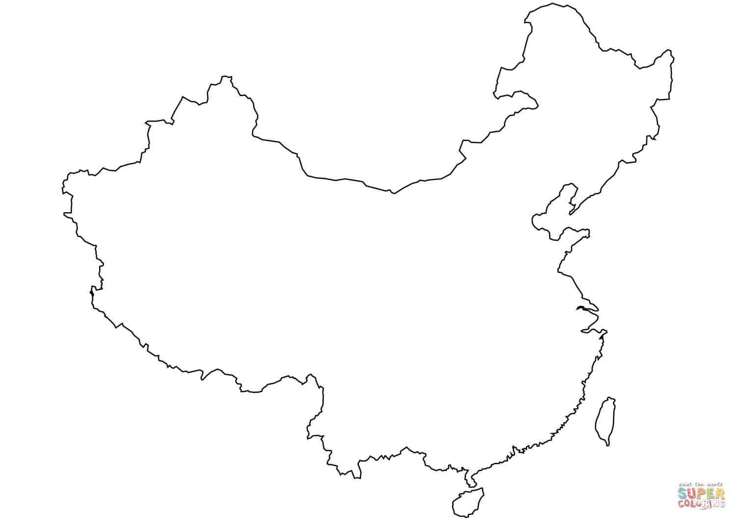 China Blank Outline Map Coloring Page