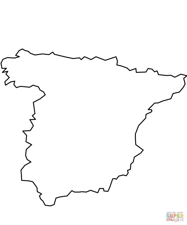 Kolorowanka Mapa Hiszpanii