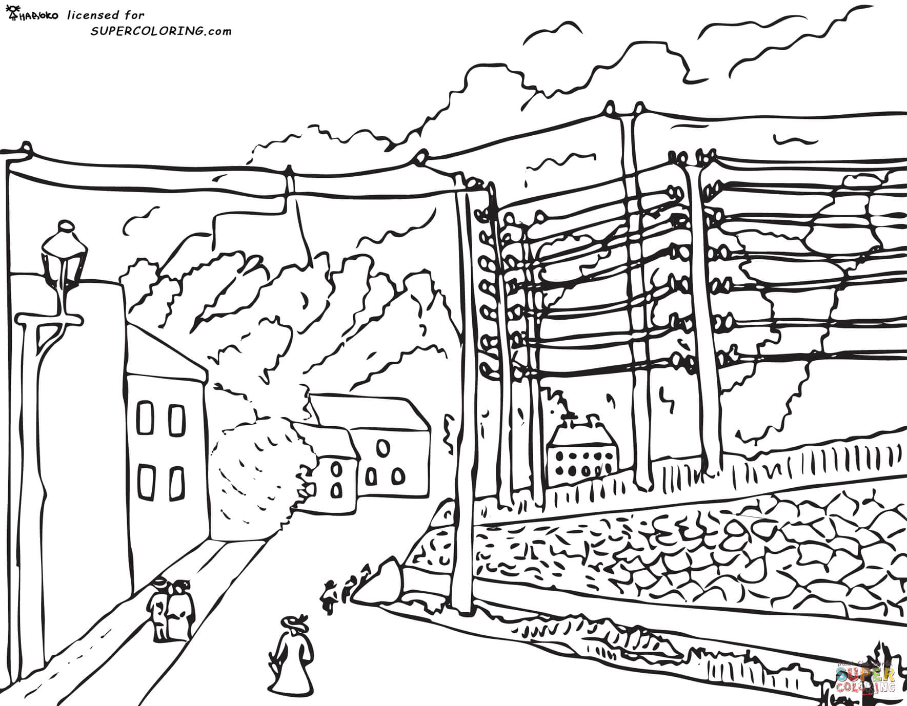 View Of Malakoff Paris Region By Henri Rousseau Coloring Page