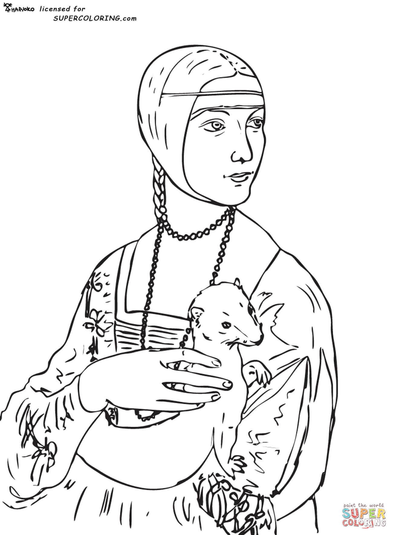 Kolorowanka Dama Z Gronostajem Leonardo Da Vinci