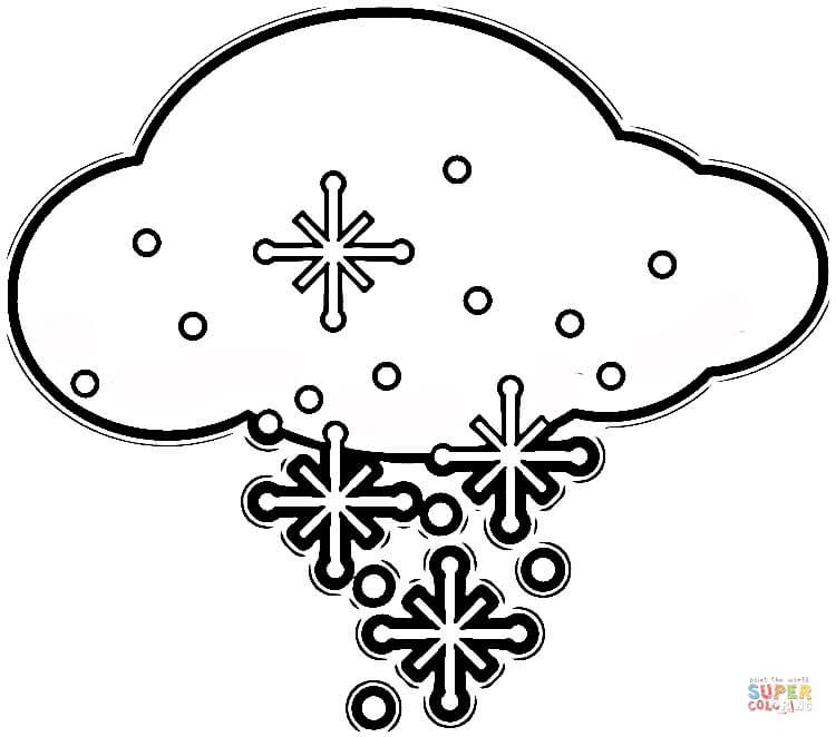 coloriage flocons de neige dasn les nuages coloriages à imprimer