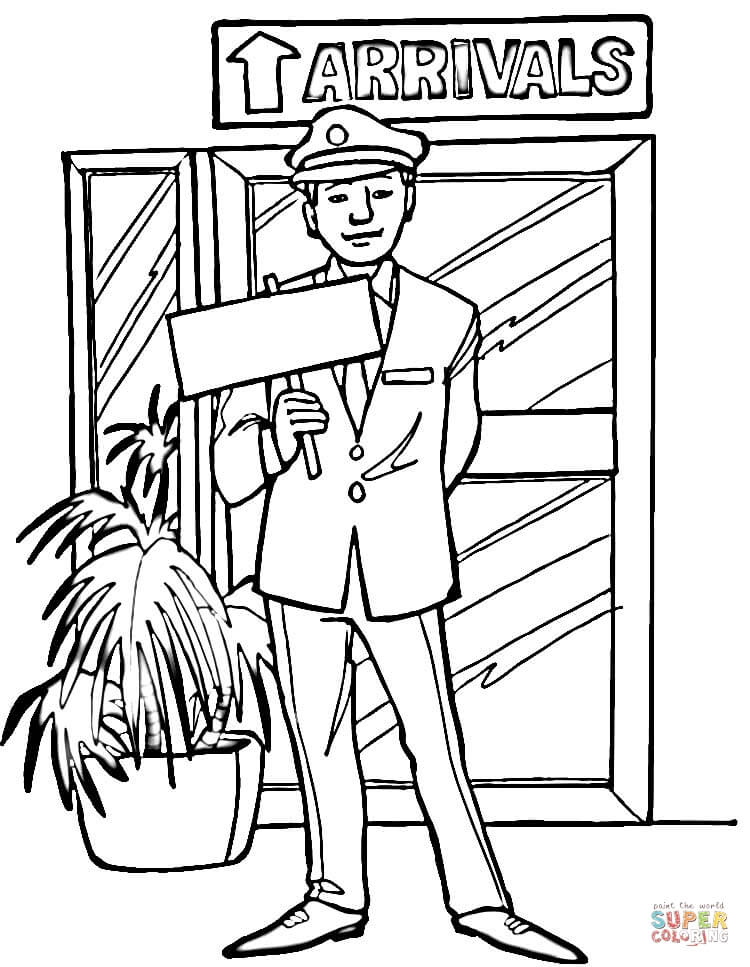 Arrivals In Airport Coloring Page Free Printable
