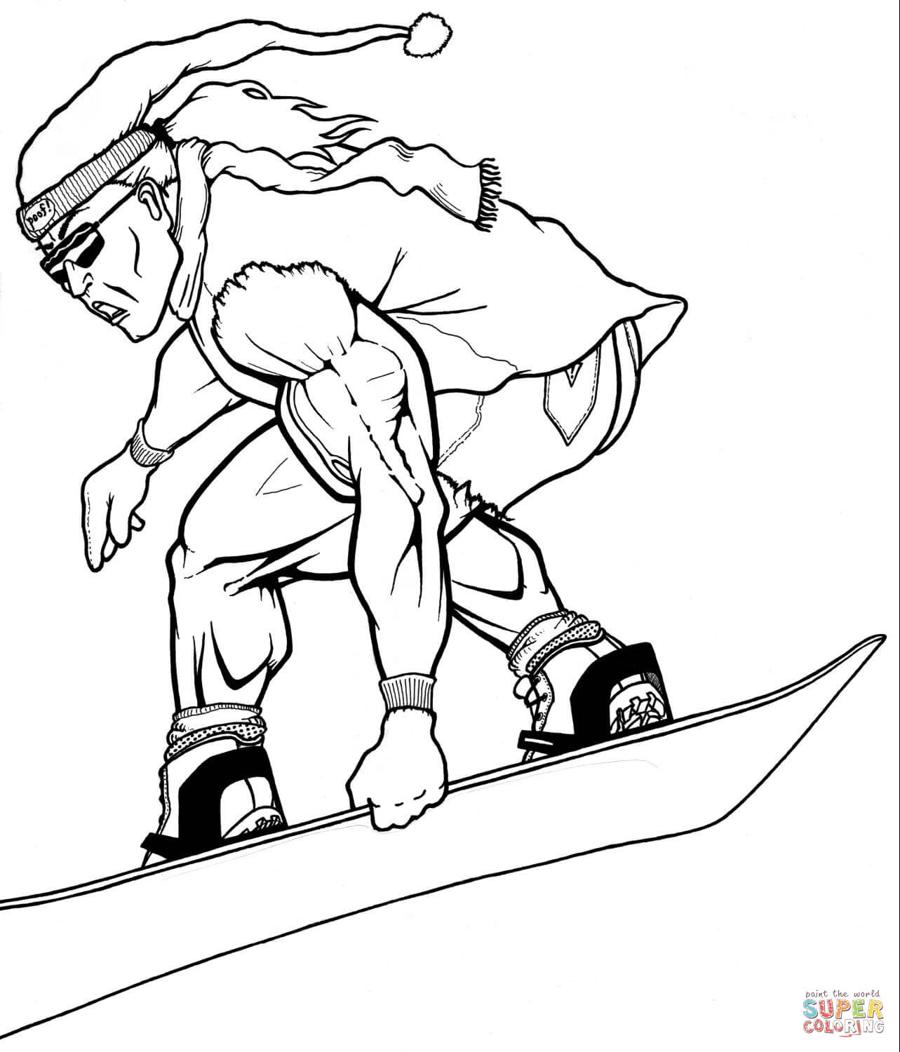 Muscular Snowboarder Coloring Page