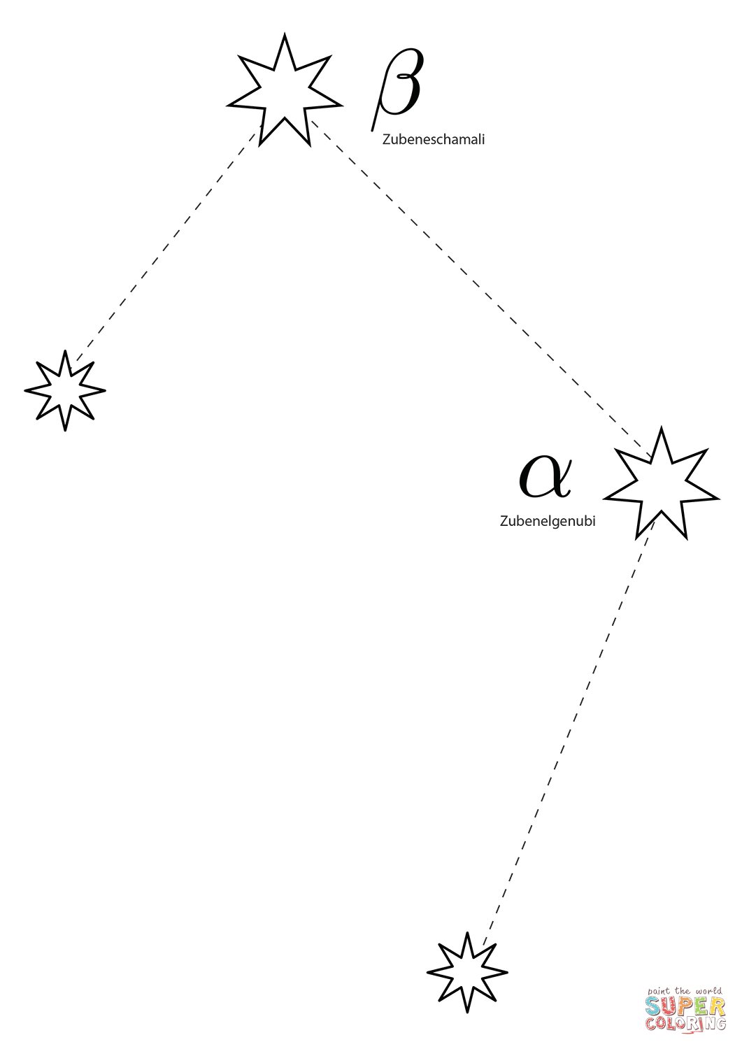 Libra Constellation Scales Coloring Page