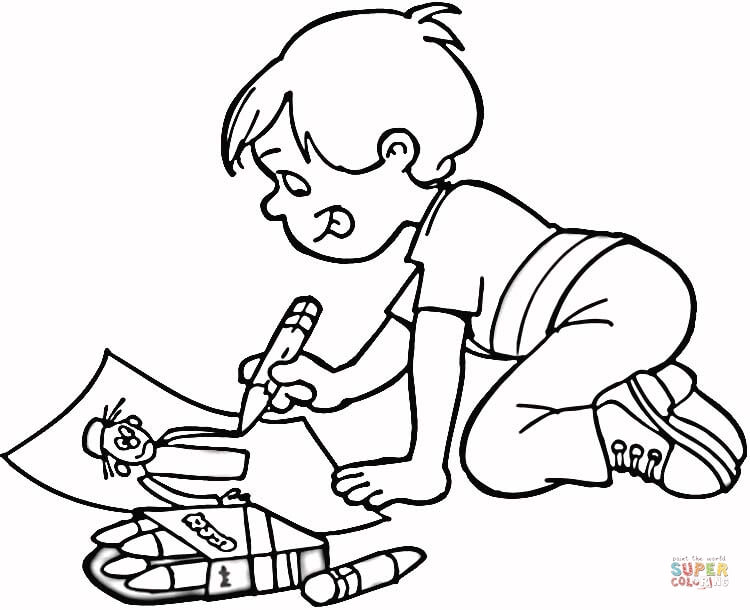 little boy drawing a masterpiece coloring page free printable