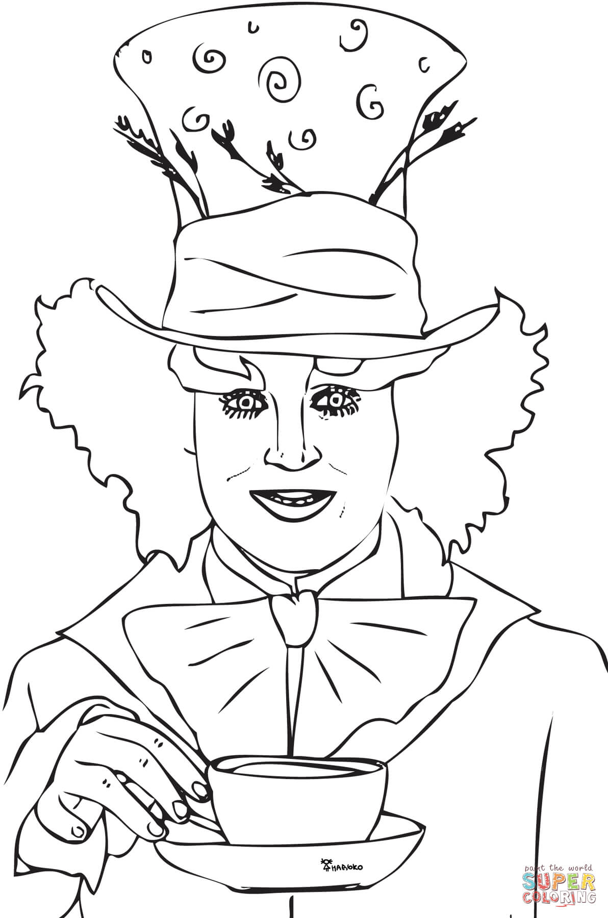 mad hatter tea party coloring page free printable coloring pages