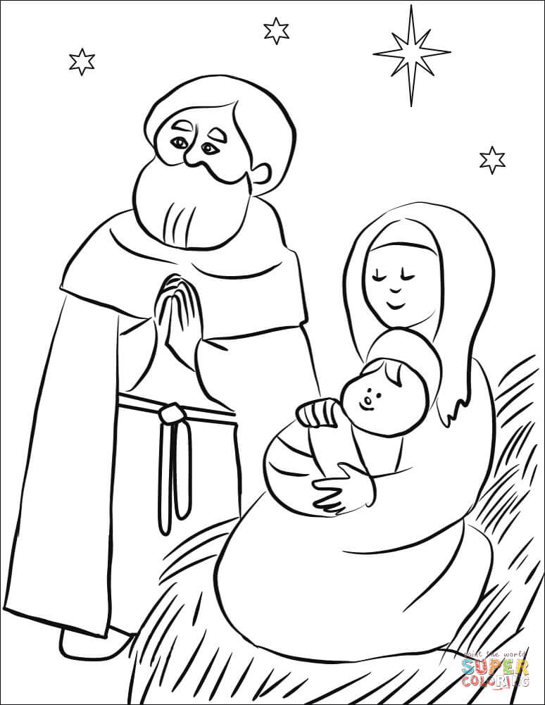 Holy Family Coloring Page Free Printable Coloring Pages