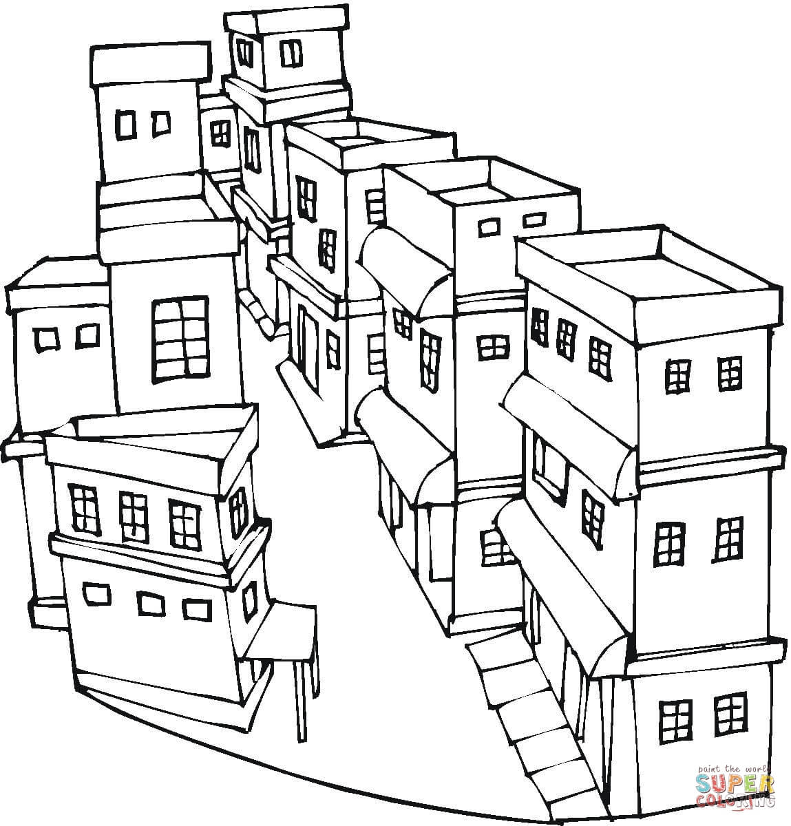 A Street Of A City Coloring Page