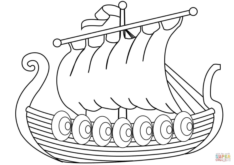 Ship Of Vikings Coloring Page