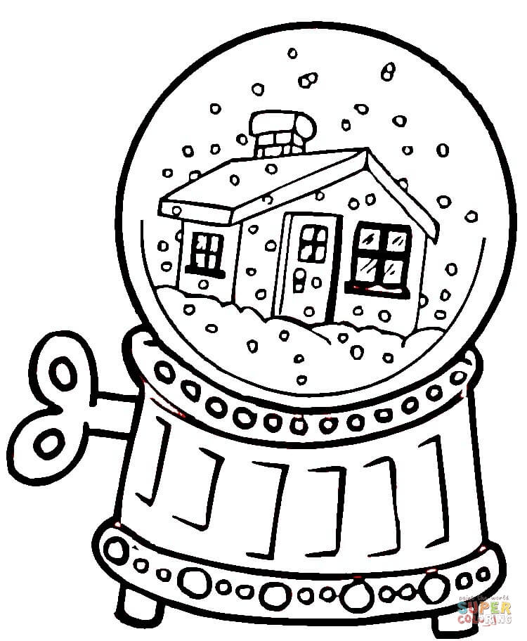 snow globe coloring page free printable coloring pages