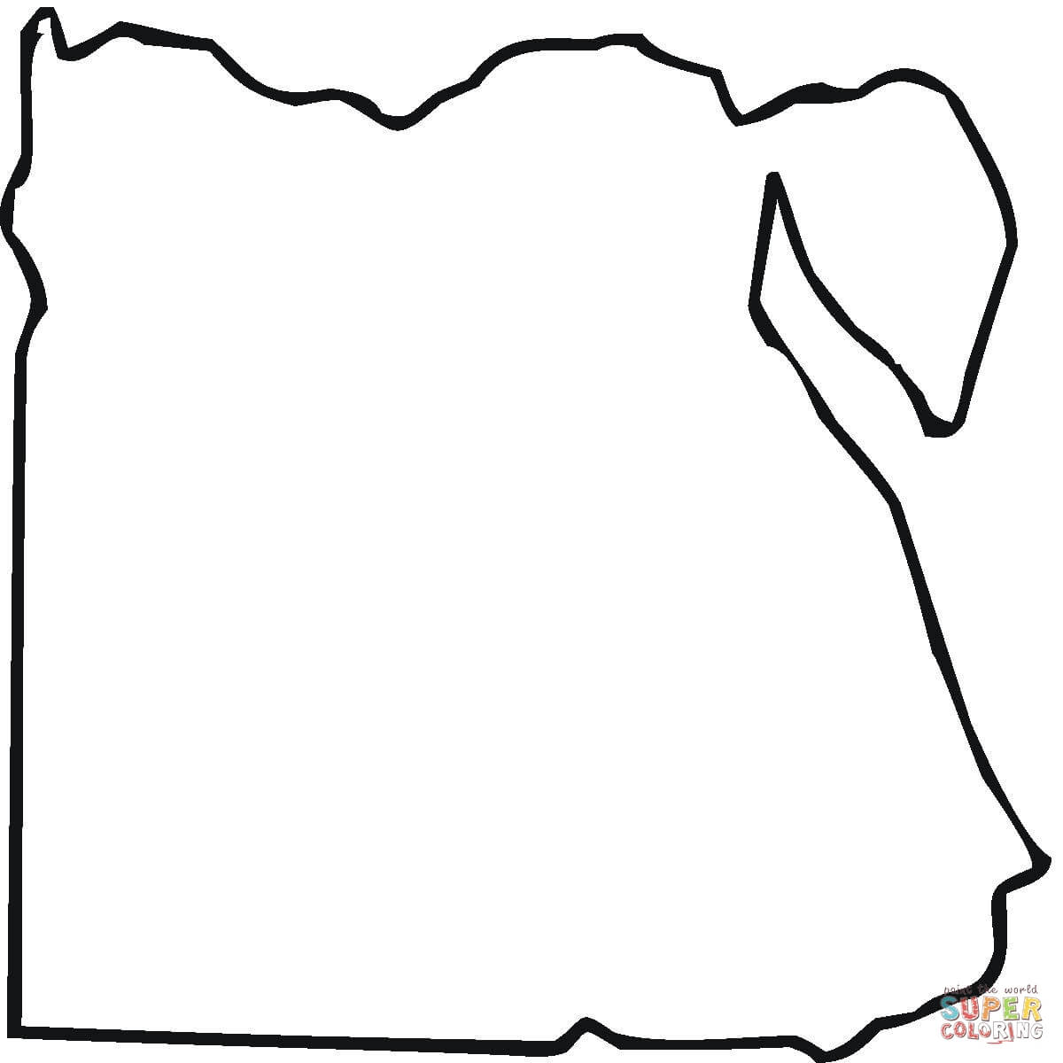 Egypt Map Outline Coloring Page