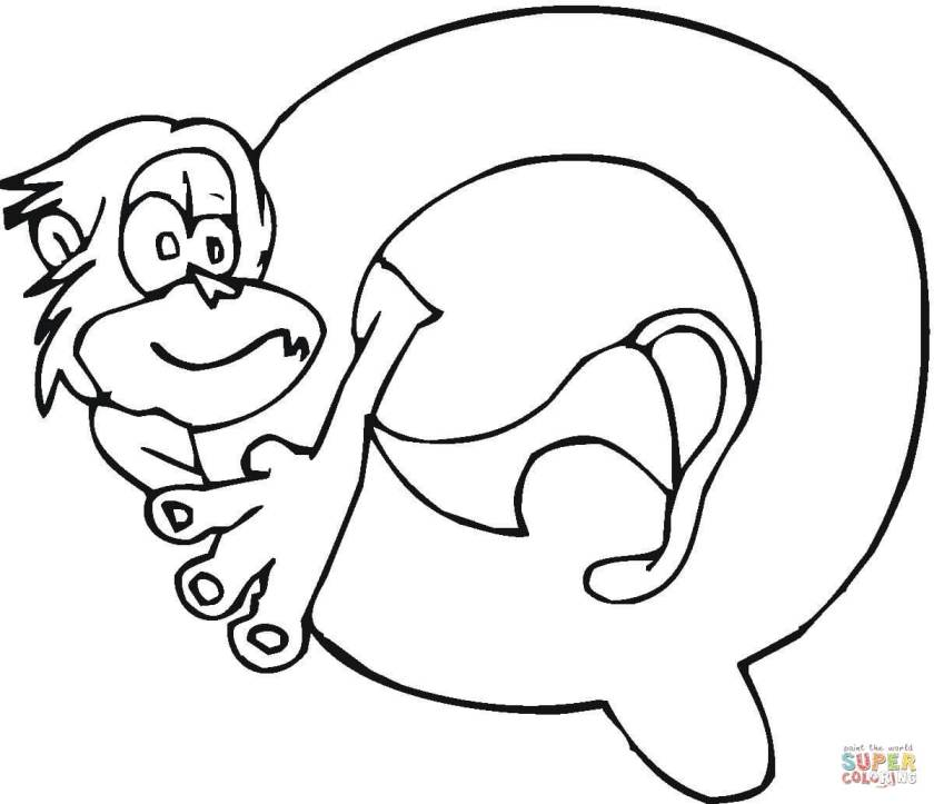 letter q  monkey coloring page  free printable