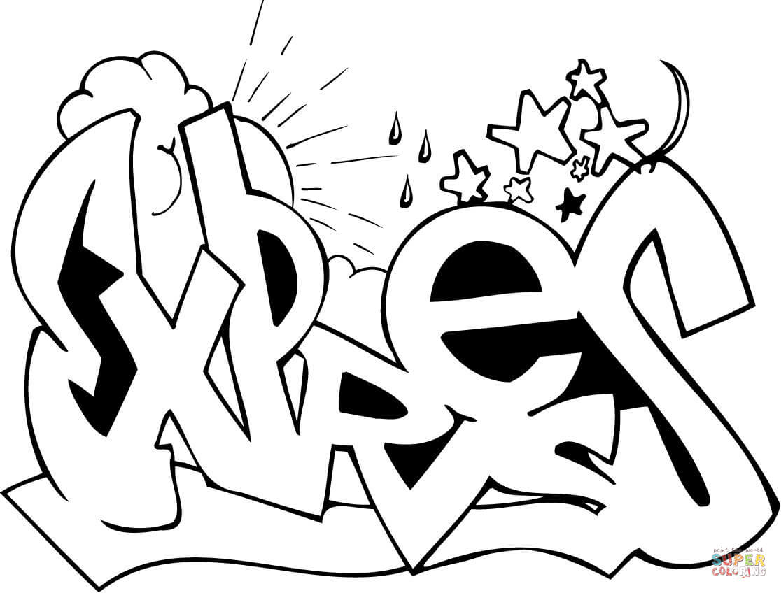 Graffiti Coloring Pages Free Coloring Pages