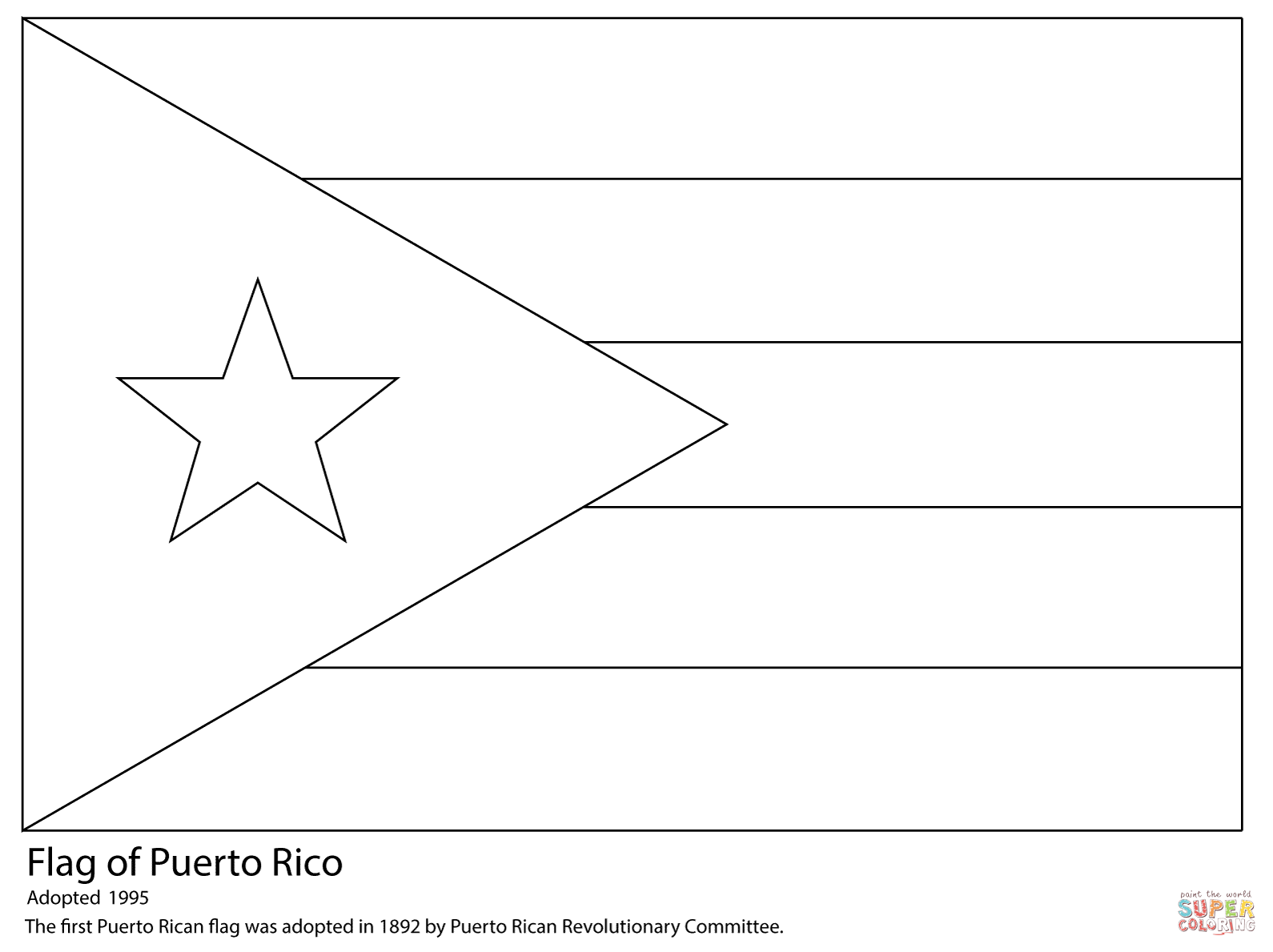 Puerto Rico Flag Coloring Page