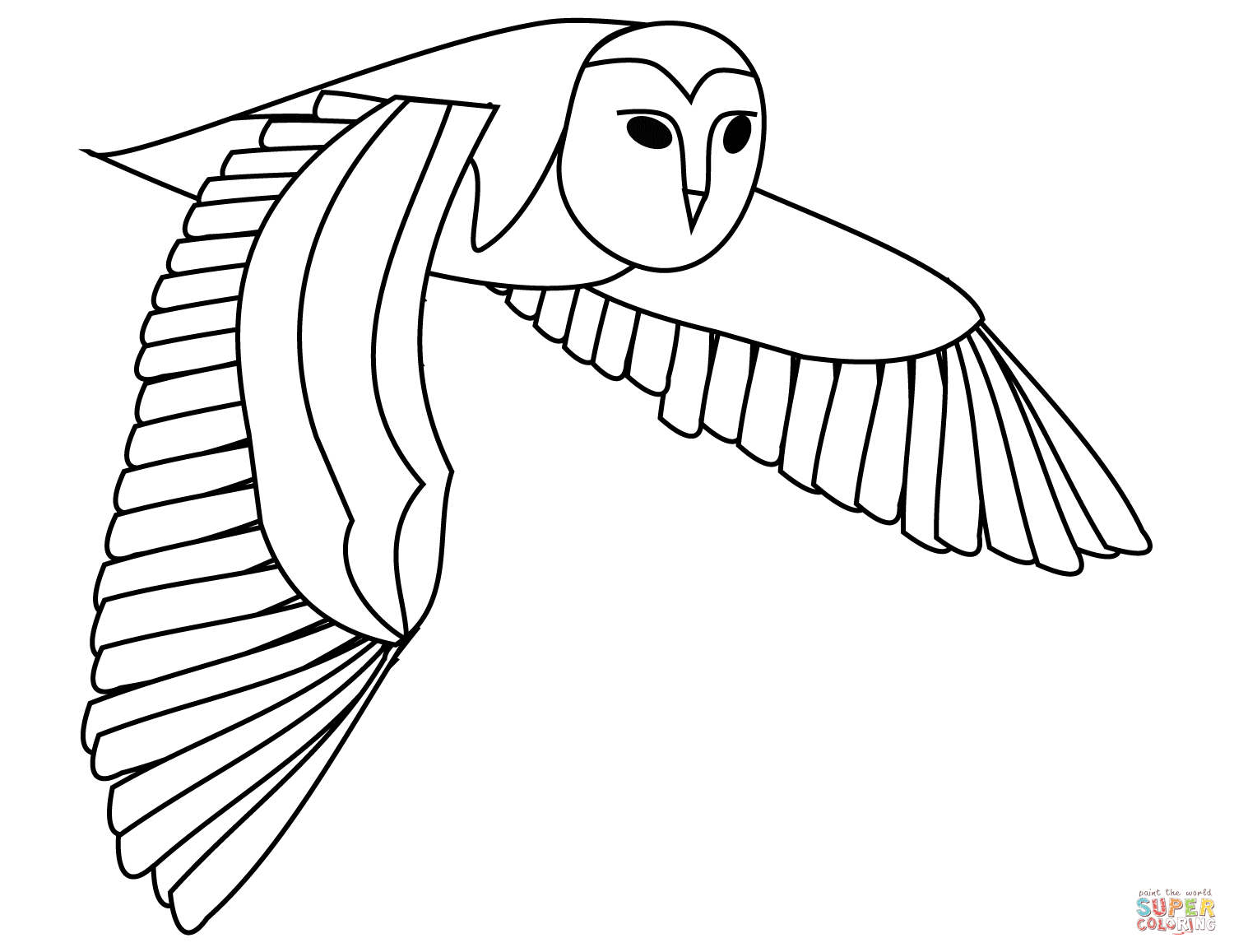 Flying Barn Owl Coloring Page Free Printable Coloring Pages