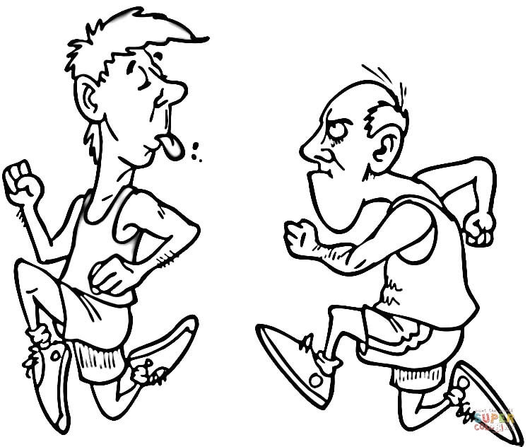 Funny Runners Coloring Page Free Printable Coloring Pages