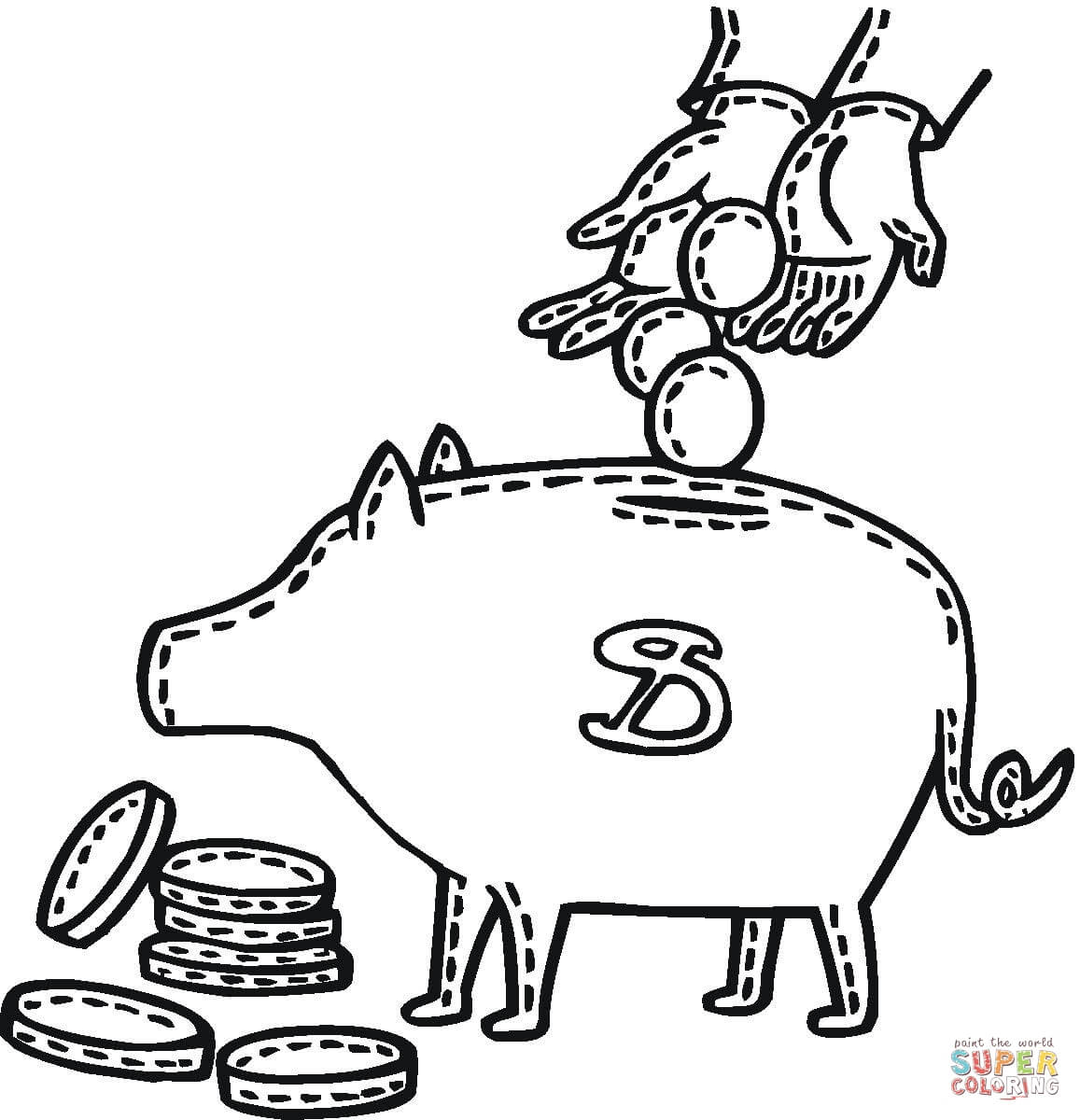 piggy bank coloring page coin going in piggy bank coloring page