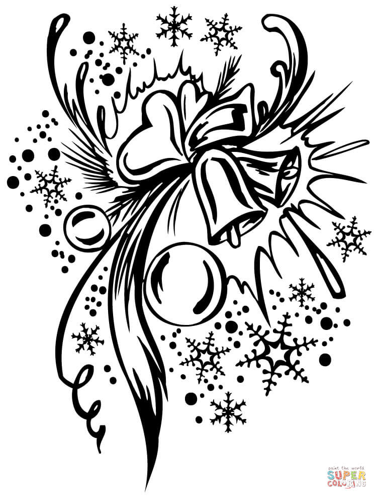Christmas Composition Coloring Page Free Printable
